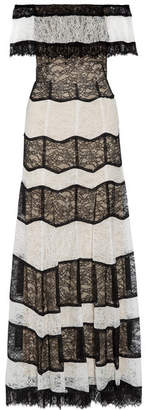 Alice Olivia - Anika Off-the-shoulder Corded Lace Gown - Black