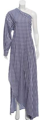 Rosetta Getty Gingham One Shoulder Dress