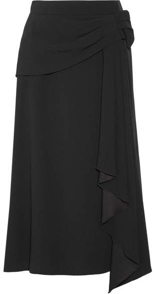Prada - Draped Crepe Midi Skirt - Black