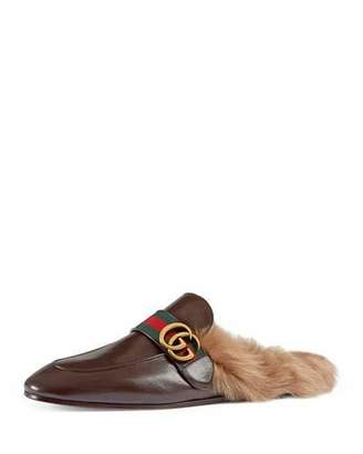 Gucci New Princetown Leather Fur-Lined Slipper with Double G, Black $995 thestylecure.com