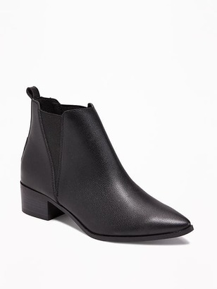 Faux-Leather Pointy Boots for Women
