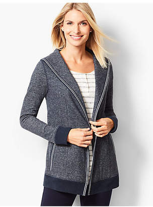 Talbots Open-Front Heathered Fleece Cardigan