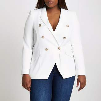 River Island Womens Plus white double breasted blazer
