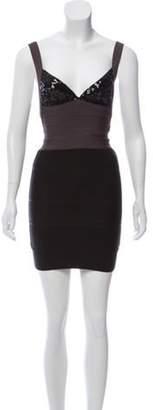 Herve Leger Sequin Bandage Dress Grey Sequin Bandage Dress