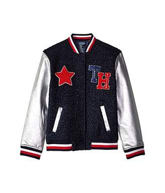 Tommy Hilfiger Adaptive Varsity Jacket with Magnetic Buttons and Sherpa (Little Kids/Big Kids)