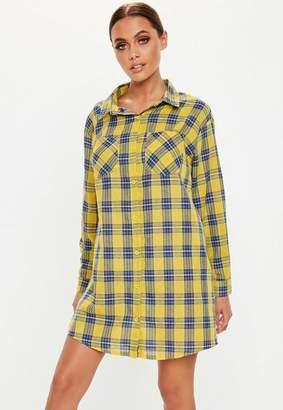Missguided Yellow Plaid Oversized Shirt Dress