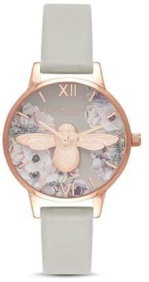 Olivia Burton Watercolor-Effect Floral Watch, 30mm