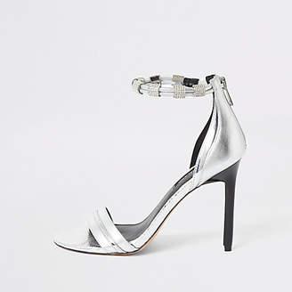 River Island Silver diamante strap skinny heel sandal