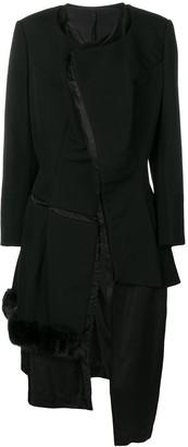 Comme des Garcons Pre-Owned 1997's faux fur trim deconstructed coat