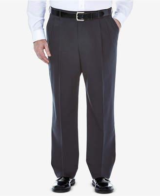 Haggar Men Big & Tall Premium No Iron Khaki Classic-Fit Pleated Hidden Expandable Waistband Pants