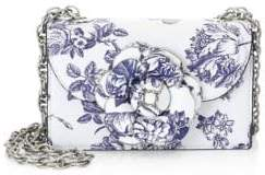 Oscar de la Renta Floral Leather Crossbody Bag