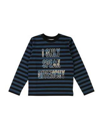 Givenchy Striped I Only Speak Long-Sleeve Tee, Size 6-10