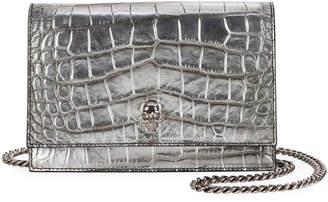 Alexander McQueen Skull Croc-Embossed Mini Crossbody Bag