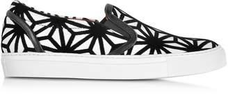 DSQUARED2 Basic White Leather and Black Velvet Slip On Women's Sneaker