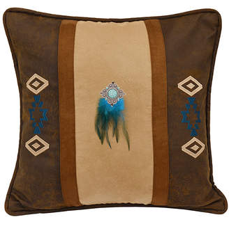 "Hiend Accents Southwest Embroidered Faux Suede 18""x18"" Pillow"