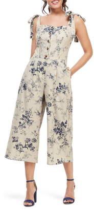 Gal Meets Glam Magnolia Smocked Back Linen Blend Jumpsuit