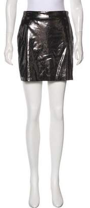 Milly Metallic Leather Mini Skirt
