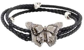 Alexander McQueen Crystal & Leather Butterfly Braided Wrap Bracelet