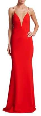 Theia Deep Plunge Crepe Gown