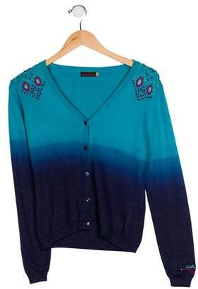 Catimini Girls' Ombré Embroidered Cardigan
