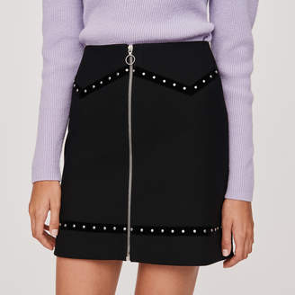Maje Studded pencil skirt with velvet trim