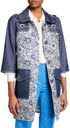 Andrew Gn 3/4-Sleeve Floral-Print and Denim Coat w/ Embroidery