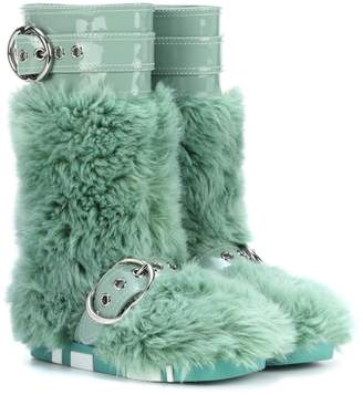 Miu Miu Faux-fur and patent leather boots