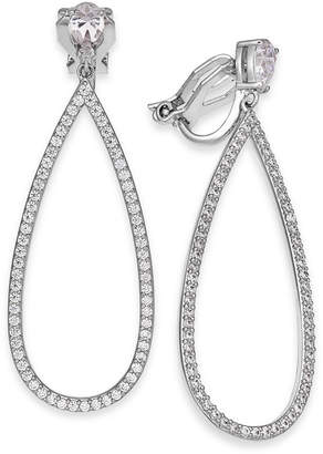 Eliot Danori Silver-Tone Crystal Pear-Shaped Clip-On Drop Earrings