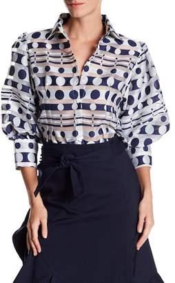 Gracia Puff Sleeve Polkadot Button-Up Blouse