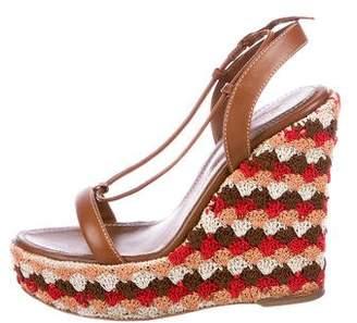 Sergio Rossi Satin Embellished Platform Wedge Sandals