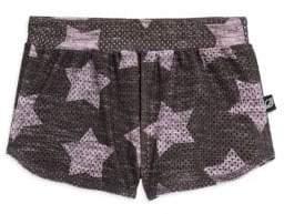 Terez Little Girl's& Girl's Athletic Mesh Star Shorts