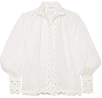 Zimmermann Ninety-six Wave Rickrack-trimmed Ramie And Linen Blouse - Ivory