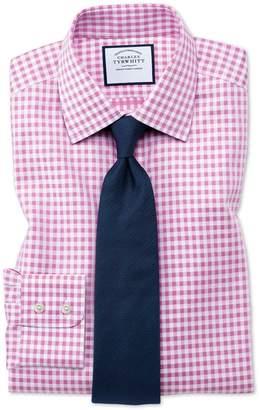 Charles Tyrwhitt Slim Fit Non-Iron Gingham Pink Cotton Dress Shirt Single Cuff Size 15/35