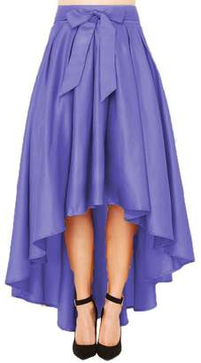 Omelas Women Asymmetric Pleated Skirt High Waisted Long Party Prom Dress with Bow