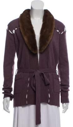 Blumarine Fur-Trimmed Knit Cardigan Purple Fur-Trimmed Knit Cardigan