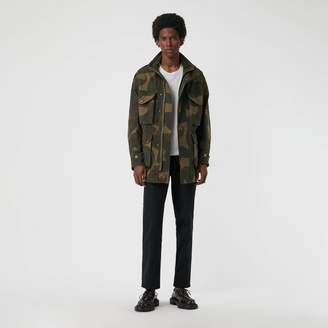 Burberry Camouflage Print Cotton Canvas Field Jacket , Size: 48, Green