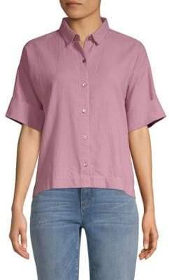 Eileen Fisher Short Sleeve Collared Shirt