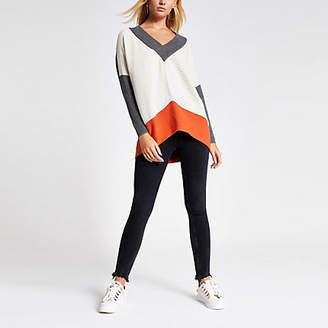 River Island Grey colour blocked V neck knitted jumper