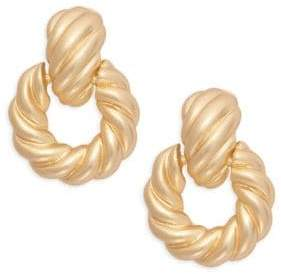 Kenneth Jay Lane Goldtone Twist Hoop Clip-On Earrings
