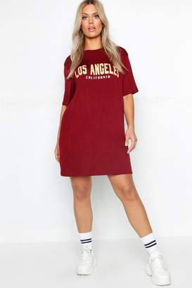 boohoo Plus Los Angeles T-Shirt Dress