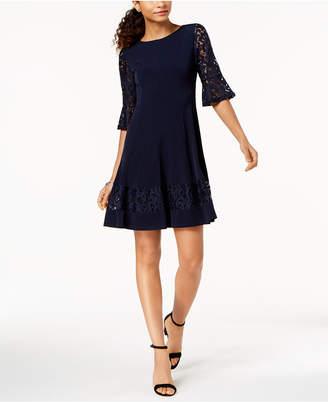 Jessica Howard Petite Lace-Sleeve A-Line Dress