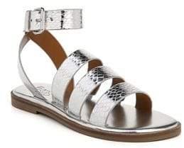 Franco Sarto Kyson Metallic Embossed Ankle-Strap Sandals