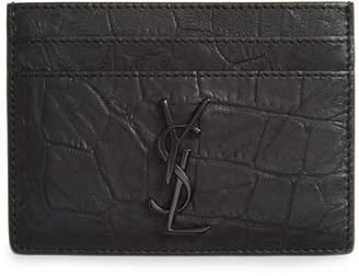 Saint Laurent Croc Embossed Calfskin Leather Card Case