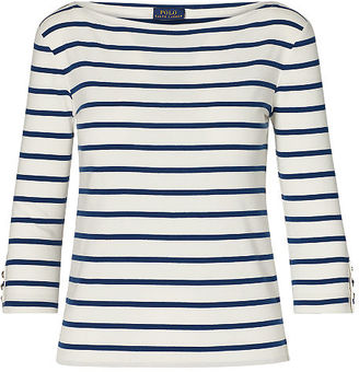 Polo Ralph Lauren Striped Cotton Boatneck Tee $98.50 thestylecure.com