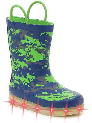 Western Chief Digital Toddler & Youth Light-Up Rain Boot -Navy/Green - Boy's