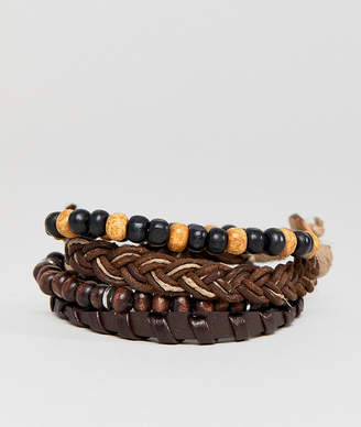 Asos Design Brown Leather And Beaded Bracelet Pack
