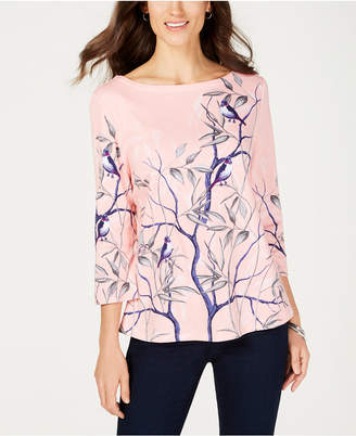 Charter Club Cotton Printed Boat-Neck Top