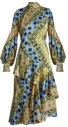 Peter Pilotto High Neck Floral Print Silk Dress - Womens - Green Blue Print