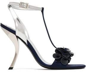 Roger Vivier Floral-Appliquéd Metallic Leather Sandals