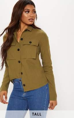 PrettyLittleThing Tall Khaki Cargo Pocket Detail Shirt